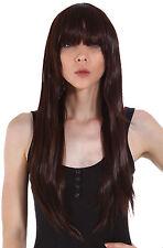 Women Long Straight Wigs Cosplay Costume Prom Party Hair Wigs Dark Brown+Net Cap