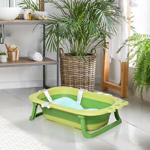 HOMCOM Baby Bath Tub for Toddler Foldable w/ Baby Cushion for 0-3 Years Green