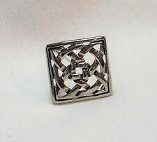 "CELTIC KNOT STERLING SILVER BROOCH 3/4"" SQUARE NEW"