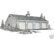 48 x 24 - Four Car Garage Building Plans Blueprints