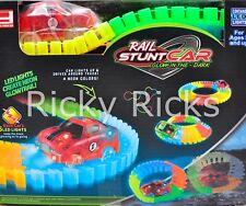 Light Up Car Tracks LED Glow In The Dark Flashing Toys Kids Racing 223 Piece Set