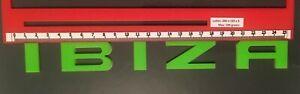"SEAT ""IBIZA"" NEON GREEN REAR BADGE LOGO LETTERS BESPOKE 3mm ACRYLIC 3M BACKING"