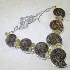 NATURAL AMMONITE FOSSIL & CITRINE 925 SILVER NECKLACE CHOKER 18 INCHES