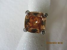 RING WITH GLASS OF TEA COLOR BEAUTIFUL STERLING SILVER .925  RING