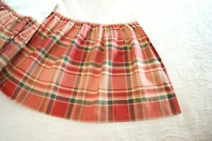 Red, Coral, Green, Gold Plaid Gathered Full Bed Skirt