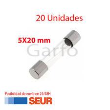 20X Fusible Rapido de Vidrio 5X20 mm 2A 250V. Pack 20 Fusibles Cristal