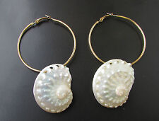 Gold Cream Sea Shell Hoop Earrings Festival Boho Mermaid Ivory Ibiza Beach 4