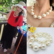 Fashion Celebrity Women Big White Large Pearl Beads Necklace Chain Chunk