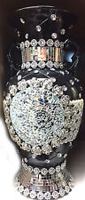 ITALIAN ROMANY VASE BLACK SILVER  DIAMANTE CERAMIC CHINA GYPSY WHITE FLOWERS
