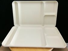 Lot of 2 TUPPERWARE 1535-6 Divided Trays Picnic Lunch Daycare Almond Beige