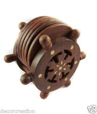 Wooden Handcrafted Decorative Wheel Wood Coaster Set & Trivets Gift Item 50% off