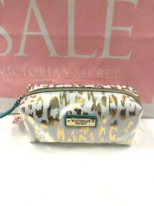 Victoria's Secret Gold and White Leopard Cosmetic Pencil Case Pouch NWT