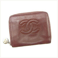 Chanel Wallet Purse COCO Brown Silver Woman unisex Authentic Used Y7317