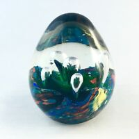 Vintage Art Glass Paperweight Clear Colorful Egg Shaped Blue Yellow Orange
