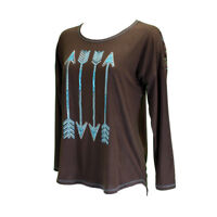 Cowgirl Hardware Women's Chocolate Brown & Turquoise Arrow Tee 215362-661