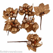 Gold Christmas Artificial Fruit and Berry Picks, Apple, Pear, Berries and Leaves