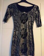 TopShop Noir & Argent à manches courtes Mini robe Taille 8