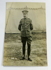 Wonderful WW1 Real Photo Postcard Officer Standing Outside of Tent