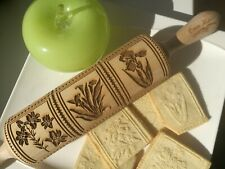 Springerle Engraved Rolling Pin Embossed Dough Roller German cookies  Oma Marta