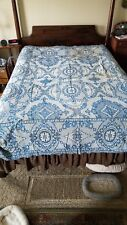 Gorgeous Vtg Italian Made in Italy Chenille Bedspread Blue Floral 94 L x 75 W
