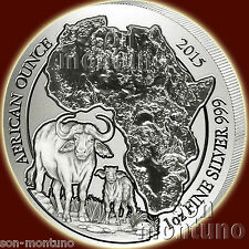 2015 Rwanda CAPE BUFFALO 1 oz Silver Mint Sealed African Wildlife Bullion Coin
