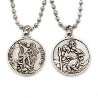 Double Sided St Michael / St Christopher Devotional Saint Medal Pendant Necklace