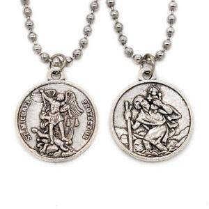 Double Sided St Michael / St Christopher Devotional Saint Medal Pendant Necklace