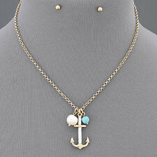 Gold Chain Pearl Turquoise Anchor White Thread Pendant Necklace With Earrings