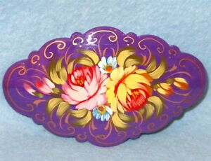 Barrette Hair Clip Russian HAND PAINTED Zhostovo PINK RED Lacquer papier mache