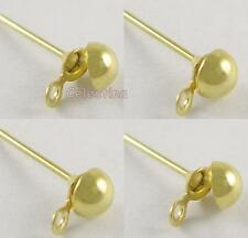 25 Gold Plated Earstuds - Half Ball Earring Findings with Loop Iron Studs EW32