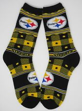 PITTSBURGH STEELERS NFL QUILT PLAID BLACK/YELLOW ADULT CREW LONG SOCKS - LARGE