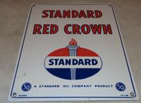 """VINTAGE STANDARD """"RED CROWN GASOLINE"""" 15"""" X 12"""" PORCELAIN METAL GAS & OIL SIGN!!"""