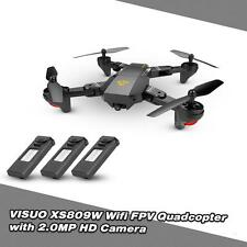 VISUO XS809HW Wifi FPV 2MP Selfie RC Quadcopter Drone Toys W/Extra 2 Battery