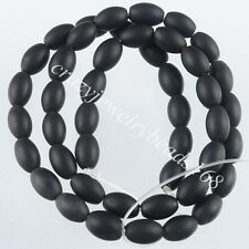 Natural Black Onyx Gemstone Rice Spacer 6x8mm Loose Beads 15.5 Inches G1758