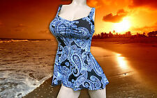 NWT Blue GOTTEX Paisley 2 pc takini WIDE Band BATHING SUIT SWIMSUIT sz - 16