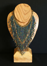 STUNNING  ETHNIC STYLE BEADED NECKLACE ~ HAND MADE ~ BLUE  and GOLD
