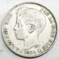 ESPAÑA ALFONSO XIII 1901 SMV 1 PESETA MONEDA PLATA MBC