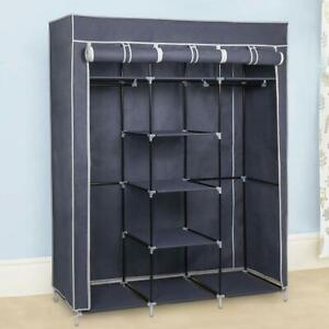 Fabric Canvas Wardrobe With Clothes Hanging Rail Shelves Storage Cupboard Grey