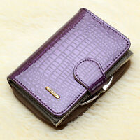 Women's Genuine Patent Leather Short Zip Wallet Coin Card Holder Trifold Hi-Q