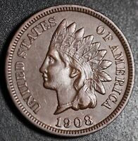 1908-S INDIAN HEAD CENT With LIBERTY & Near 4 DIAMONDS - AU UNC *KEY DATE*