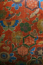 Copper Red Hexagon Butterfly Ume Vintage Japanese Kimono Silk Quilt Fabric 39""
