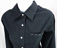 Medium Denim & Co Black Western Rodeo Shirt Pearl Snap Cotton