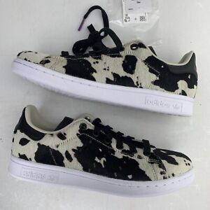 Adidas STAN SMITH Originals Fuzzy Calf Hair Cow Print FV3087 Black Wmns SZ 5.5🔥