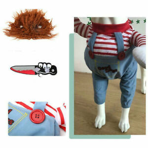 Pet Clothes Deadly Doll Halloween Scary Dog Costumes Funny Cosplay Clothing Set
