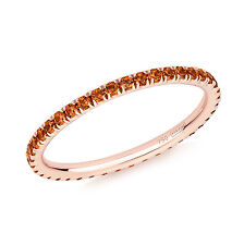 Orange Sapphire Full Eternity Ring in 18ct Rose Gold UK SIZES J-O