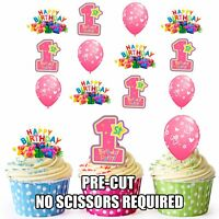 PRE-CUT 1st Birthday Baby Girl Edible Cupcake Toppers Decorations