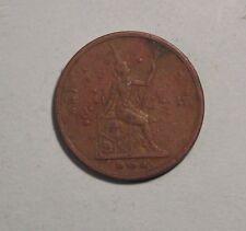 1902 1 Att Thailand Coin RS121 King Rama V Chulalongkorn Siam Thai 1/2 Pai