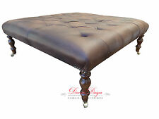 Large Chesterfield Deep Buttoned FootstoolTable In Faux Leather 3ft x 3ft