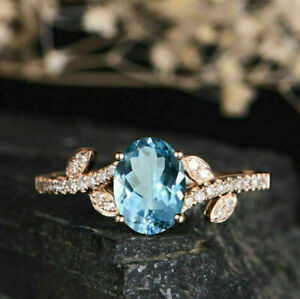 3Ct Round & Oval Cut Blue Topaz Diamond Vintage Cluster Ring 14k Rose Gold Fn