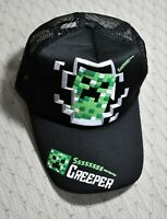 Very Rare MINECRAFT CREEPER Black Snapback HAT Baseball CAP Green Gray FOAM MESH